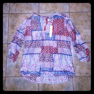 Grand & Greene Tie Neck Printed Peasant Blouse NWT